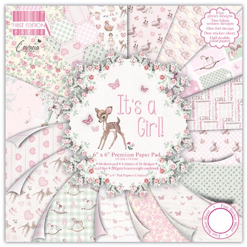 "First Edition It\'s a Girl Premium Paper Pad 6""x6\"" 64 Sheets (FSC)"