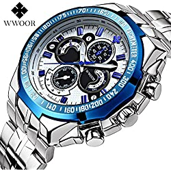 WWOOR Sportuhr für Herren Nicht-mechanische Uhren Mode wasserdichte leuchtende Armbanduhr (blau)