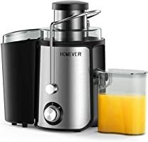 Entsafter, Homever Entsafter für Obst und Gemüse, Zentrifugal Entsafter mit Fruchtfleischbehälter & Saftbehältezwe, 65mm Breiter Mund Edelstahl und 2 Geschwindigkeiten Entsafter, BPA-frei