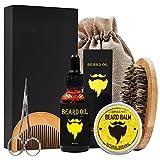 Cuidado de Barba Kit –6pcs Foxcesd Aceite Barba (30 ml) + Cepillo Barba + Bálsamo Barba + Peine Para Barba + Tijeras Barba + Bolsa de Viaje aseo Juego de Regalo Perfecto Para Hombres