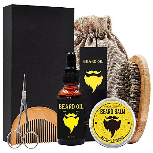 Bartpflege Set, 6-teilig Bartpflege Kit Bestehend aus Bartöl (30ml) + Bartbürste + Bart Balsam + Bartkamm + Bartschere + Kulturbeutel Geschenk für Männer und als Reiseset