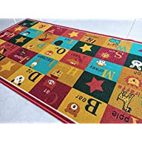 BuyElegant Alphabets Multi Coloured Area carpet floor Super absorbent Jacquard Polyester Eco-friendly Latex at the back for anti Slip Soft Touch Educational Nursery Play mat 150 x 80 cms