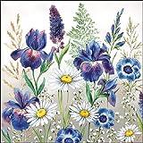 4 tovaglioli di carta per decoupage - 3 veli, 33 x 33 cm - fiori misti (4 singoli tovaglioli per artigianato e tovaglioli Art.)