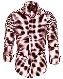 Amaci&Sons Herren Kariertes Slim-Fit Trachtenhemd Bügelleicht Oktoberfest Karo Hemd 5006 Bordeaux S