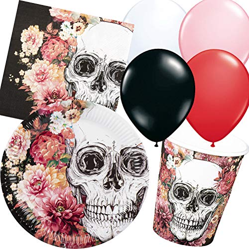 Carpeta 45-Teiliges Party-Set * Halloween Totenkopf * mit Teller + Becher + Servietten + Luftballons | Skelett Tod tot Blumen Horror Partygeschirr Deko Party Mottoparty (Skelett Halloween Party)
