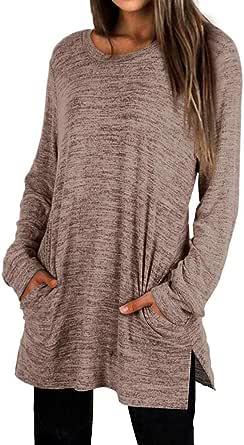 OrientalPort Maglione da donna, tinta unita, girocollo, a maniche lunghe, casual, a tunica, elegante, con tasche