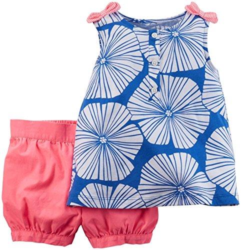 Carter's 2 teilige Kombination für Mädchen T-Shirt + Shorts / kurze Hose Baby girl dress Sommer Outfit Set Bluse Achselshirt (3 Monate, rosa/blau) Carters Shirt
