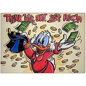 Original Gemälde Acrylfarben auf Leinwand und Keilrahmen: Dagobert Duck Think big and get rich! / 50x70 cm