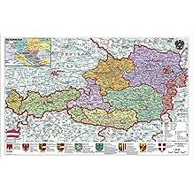 Österreich politisch: Wandkarte - Poster