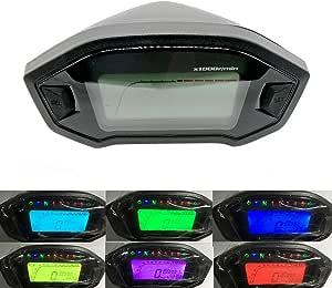 Kkmoon Motorrad Tacho Tachometer Instrument 10 15 V 7 Farbe Hintergrundbeleuchtung Affe Lcd Meter Geändert Drehzahlmesser Für Motorrad Auto