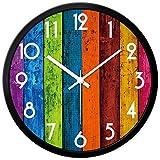 Orologio da parete variopinta moderna Silenzioso Per Soggiorno Arabesco numero di disegno di legno rotondo decorativo Orologio da parete (colorato) ( Size : 12IN )