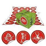 24 kleine hell-grüne Weihnachten Geschenkboxen Geschenkschachteln 8 x 6,5 x 5,5 + 24 runde Weihnachts-Aufkleber in rot-weiß mit Text und weihnachtlichen klassischen Motiven … Frohes Fest …