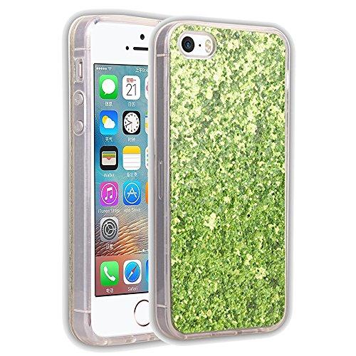 EKINHUI Case Cover Luxus-Schein-Bling-Kasten-Abdeckungs-Funkeln-glänzendes weiches Silikon TPU Stoßdämpfer-schlagfeste schützende rückseitige Abdeckung für iPhone 5 u. 5s u. SE ( Color : Rose ) Green