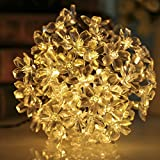GreenClick 23ft 50 Led Solar Outdoor Cherry Blossom String Lights Warm White for Garden and Indoor