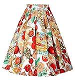 A-linien röcke elegant faltenrock knielang 50s vintage swing röcke XL CL8925-6