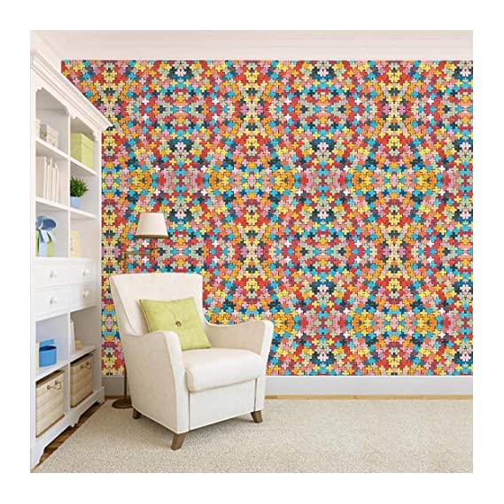 100Yellow? 3D Design Printed Colourful Peel And Stick Wall Paper For Home Decor (Self Adhesive) (44 Sqft)