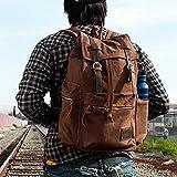 Vintage Unisex Casual Leather Backpack Canvas Rucksack Bookbag Satchel Hiking Backpack Travel Outdoor Shouder Bag (Coffe)