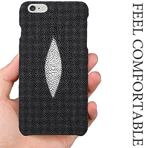 Emballage blister & T iPhone 6/6S en cuir véritable peau [Sting Ray] Premium–100% fait main en cuir véritable (qualité supérieure) pour Apple iPhone 6/6S, Cuir, - noir, Original Pearl