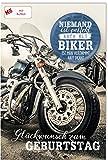 Geburtstagskarte für Männer und Biker, mit Button,Männergeburtstag, inkl.Kuvert