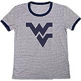 Blue 84 NCAA West Virginia Mountaineers Women's Tri-Blend Retro Stripe Ringer Shirt, Small, Navy