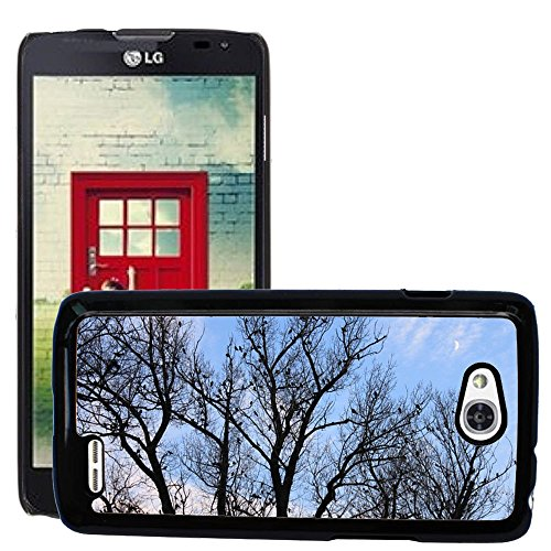 Grand Phone Cases Bild Hart Handy Schwarz Schutz Case Cover Schale Etui // M00140534 Black Crows Fall Flock Mond Himmel // LG Optimus L90 D415 (Für Lg Fällen Handy L90 Optimus)