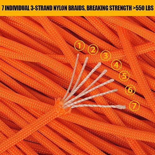 Brotree 30m Paracord Cuerda de Paraca/ídas de Nylon 550 lbs 7 Resistentes Hebras de Fibra Poli/éster para Escalada Kit de Supervivencia Acampada Est/ándar, Reflectante