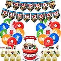 Game Theme Birthday Party Supplies,Roblox Party Supplies Cake Topper For Roblox Birthday Party Supplies For Kids.