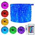 Ollny 10m 100 LED Rope String Lights 16 Colors Changing String Lights USB Powered with Remote Control & Timer Waterproof Christmas Xmas Decorative Lights for Outdoor and Indoor