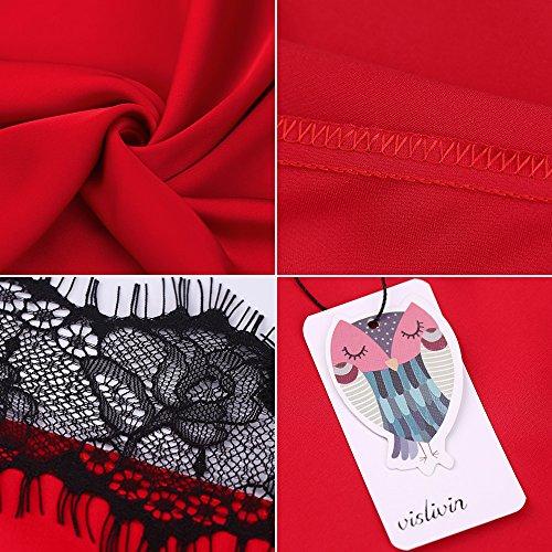 Vislivin Stile del chemise della camicia da notte della biancheria del raso delle donne con il merletto e il ciglio Red