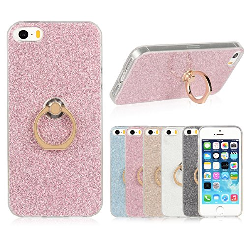 iPhone 5 5S SE Etui Coque, SHANGRUN 2 in 1 Scintillement Bling TPU Gel Silicone Etui Coque 360 Degres Rotating Métal Bague Ring Stand Holder Cover Coque avec Béquille Housse Étui pour iPhone 5 5S SE R Rose
