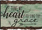 Tune My Heart zu Singen, Dein Grace Pfeil Rustikal Bark Look Holz Schild Magnet