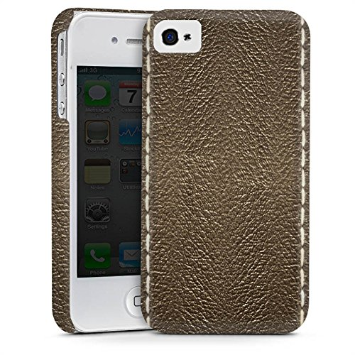 Apple iPhone 5s Housse étui coque protection Cuir marron Look Structure en cuir Cas Premium mat