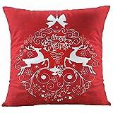 TIFIY Kissenbezüge Weihnachten, Baumwolle Leinen Drucken Kissen Schlafzimmer Dekorative Kissenhülle Für Sofa Büro Kissenbezüge Rot,45 x 45cm (B)