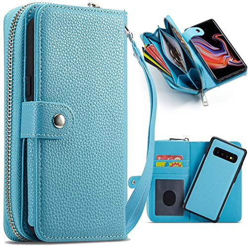 e für Samsung Galaxy S10, magnetisch, abnehmbare Brieftasche, PU-Leder Schutzhülle Slim Shock Folio Flip Abnehmbare Tragetasche, Kartenhalter für Samsung Galaxy S10 blau ()