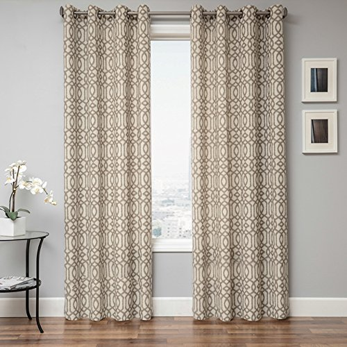 Softline Katie Serie Fensterpaneel Vorhang Vorhang Vorhang Ungefüttert mit traditionellem Ikat Muster und modernem Metallösen in Latte, Latte, 55 Inches x 96 Inches (Zoll Vorhang-panel 96)