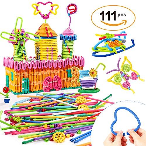 Peradix Sticking Jeu montessori apprentissage Artisanat Kit Enfants Plug Doux Flexible Twistable Coloré Verrouillé Bâtons BRICOLAGE 111 PCS avec Sacs De Rangement