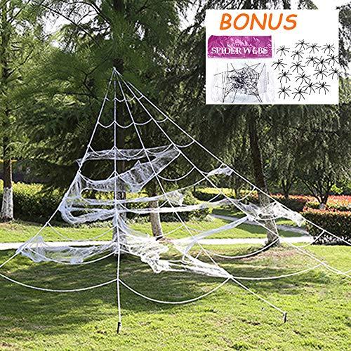 Storystore Halloween-Spinnennetz-Dekoration für den Außenbereich, 4,4 m große Spinnennetze mit super dehnbarem Spinnennetz, Party-Set für Hof, Rasen, Requisiten für Halloween, Spukhaus, Partyzubehör