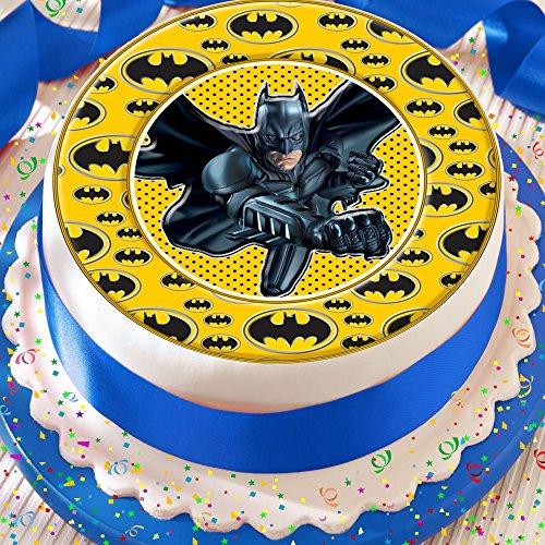 Batman Logo Grenze Birthday vorgeschnittenen Essbarer Zuckerguss Kuchen Topper Dekoration (Kuchen Topper Batman)