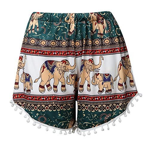Elephant-High-Waisted-Tassel-Tribal-Beach-Casual-Shorts-Pants