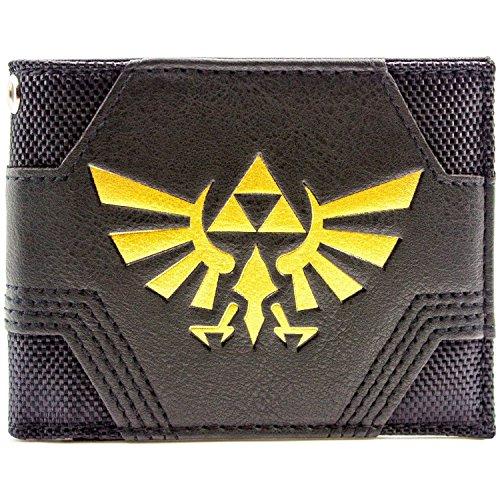 Cartera de Nintendo Zelda Con textura Oro Triforce Negro