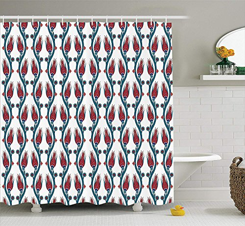 JIEKEIO Flower Decorations Shower Curtain Set, Ottoman Art Stylized Tied Vertical Bound Mosaic Tulip Motifs with Leaf Details Decor, Bathroom Accessories,60 * 72inch inches, Red Teal -