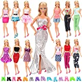 Miunana 15 Pezzi = 5 PCS Fatti A Mano Principessa Abiti Vestiti Alla Moda Fashion + 10 PCS Scarpe Selezionati A Caso Per Bambola Barbie Dolls