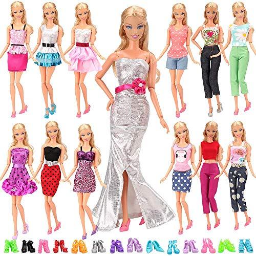 Miunana Lot 20 = 10 modische Partymoden Urlaubstag Kleidung Kleider Outfit + 10 Schuhe für Barbie Puppen Doll Xmas Weihnachten Geschenke