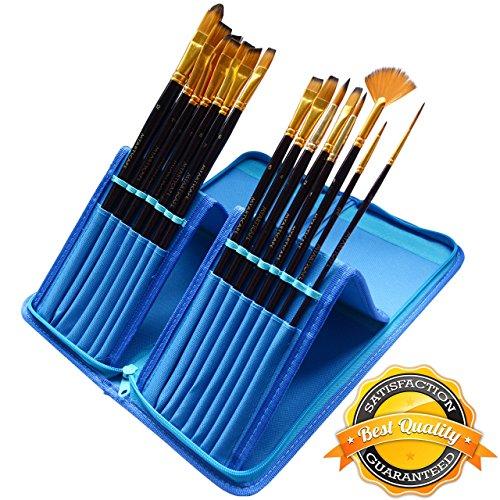 Juego de pinceles de pintura, 15 unidades, para acuarela, acrílicos, óleo...