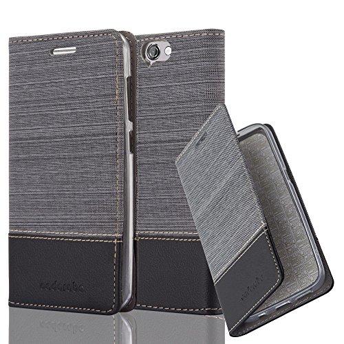 Cadorabo Hülle für HTC ONE A9 - Hülle in GRAU SCHWARZ – Handyhülle mit Standfunktion und Kartenfach im Stoff Design - Case Cover Schutzhülle Etui Tasche Book