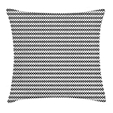 Black and White Throw Pillow Cushion Cover, Geometrical Pattern with Contemporary Design Vertical Zig Zag Lines Tile, Decorative Square Accent Pillow Case, 18 X 18 inches, Black White