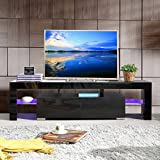 UEnjoy Modern High Gloss TV Unit Cabinet LED TV Stand Glass Shelves for Living Room (Black 160cm 2 Shelves)