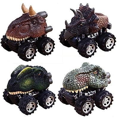 Ziehen Sie Dinosaurier Autos, Aolvo 4 Pack Big Reifen Rad Fahrzeuge Playset Dinosaurier Modell Mini Spielzeug LKW f¨¹r Kinder Kleinkinder von Aolvo
