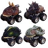 Pawaca Juego de 4 juguetes de dinosaurio para coches y niños con rueda de neumático grande, modelo Dinosaurio