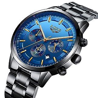 Herren-Uhren-Edelstahl-Schwarz-Klassische-Luxus-Casual-Uhr-mit-Multifunktion-Chronograph-Sportuhr-Wasserdicht-30M-Business-Fashion-Quarzuhr-Herren-Blau